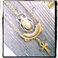 NEW Egyptian Ankh and Scarab Eternal Life Necklace