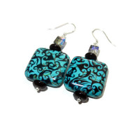 Turquoise, Black, and Crystal Damask Square Beaded Dangle Earrings, Sterling Silver