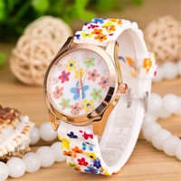 Womens Silicone Jelly Watch Girls Sports Floral Watches + Beautiful Gift Box