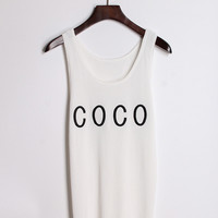 Letters COCO Embroidered Sleeveless Tank Top