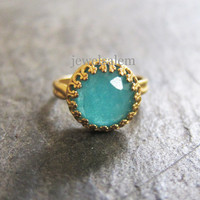 Aquamarine Ring Gold Silver Turquoise Blue Ring Gift Antique Style Adjustable Faceted Gemstone Teal Stone Exotic Modern Victorian Rustic