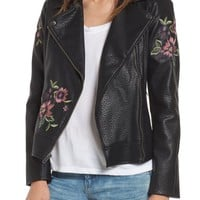 BB Dakota Baxley Embroidered Faux Leather Moto Jacket | Nordstrom