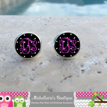 Black and White Polka Dot and Purple Monogram Earrings,Monogram Jewelry,Monogram Accessories,Monogram Studs,Monogram Leverback,Monogram Gift