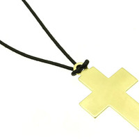 NECKLACE / LINK / TEXTURED METAL / CROSS / 2 INCH DROP / 18 INCH LONG / NICKEL AND LEAD COMPLIANT