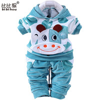 baby boys girls velvet children clothing sets boys Cartoon hoodies pants suits for autumn newborn kids wear costume
