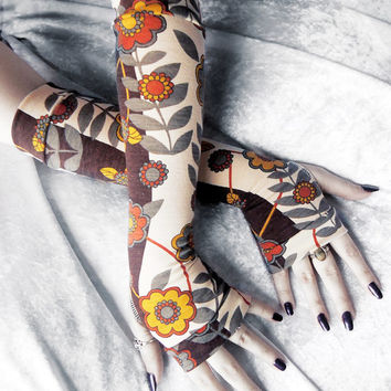 September Stroll Arm Warmers - Brown Cream Mustard Yellow Burnt Orange Grey Floral - Yoga Cycling Gothic Tribal Gypsy Hooping Meditation