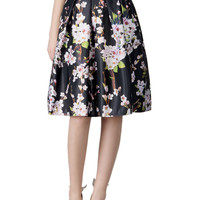 Black Sakura Print High Waist Pleated Midi Skater Skirt