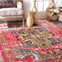 9358 Pink Colorful Medallion Oriental Area Rugs