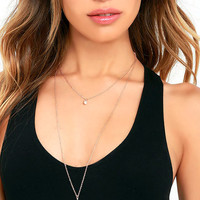 Back Two Reality Rose Gold Layered Necklace