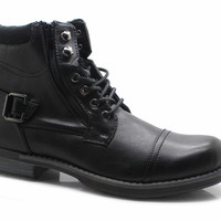 Men's Military Style Boots Ankle High Lace Up Zipper Cap Toe - Monroe Black