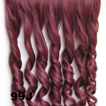 99J Ombre Colorful Candy 5 Clip in Hair Extensions 1Weft=5pcs Body Wave Texture Hair Synthetic Hair Extension, High Quality Wig