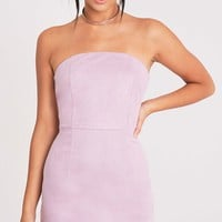 Konnie Lilac Faux Suede Bandeau Bodycon Dress