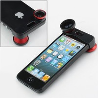 NEEWER® Red 180° Fish Eye Lens+Wide Angle Lens+Macro Lens 3-in-1 Kit for Apple iPhone 5, iPhone 5s