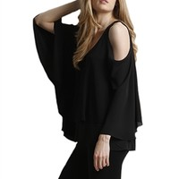 Lola & Sophie Matte Jersey Open Shoulder Top | ShopAmbience