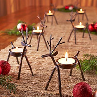 Set of 6 Deer Tea Light Candle Holders