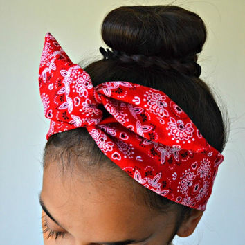 Paisley Red dollybow head band , Chic Head wrap Ba