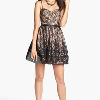 Way-In Lace Fit & Flare Dress (Juniors)