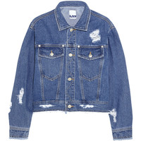 Steve J & Yoni P Cropped distressed denim jacket