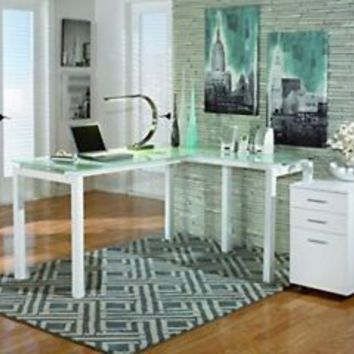 """Signature Design by Ashley H410-24 Baraga Collection Home Office Desk, 61"""", Whit"""