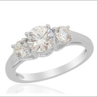 J Francis - 3 Stone Ring in Platinum Overlay Sterling Silver Nickel Free Made with SWAROVSKI ZIRCONIA (Size 9) TGW 2.40 cts.