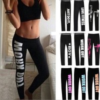 Free Shipping 2015 letters Printed sports Pants women letters printed work out just do it leggings Women Fitness Cotton Leggins