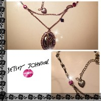 💋 Betsy Johnson Zebra Pink Double Necklace 💋