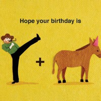 Kick Donkey Handmade Birthday Card