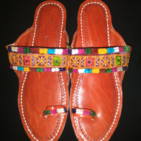 Size 8 - 9 handmade INDIAN leather sandals shoes ethnic women flip flops NEW ARRIVAL !