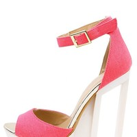 C Label Dolce-4 Neon Pink Ankle Strap Cut Out Platform Heels and Shop Shoes at MakeMeChic.com