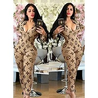 LV Louis Vuitton Autumn Fashion Women Casual Print Long Sleeve Jumpsuit Khaki