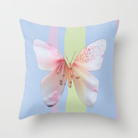 Butterfly pink azalea in pastel color stripes background. Floral botanical graphic art. Throw Pillow by NatureMatters