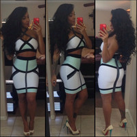 White Cropped Top and Bodycon Mini Skirt