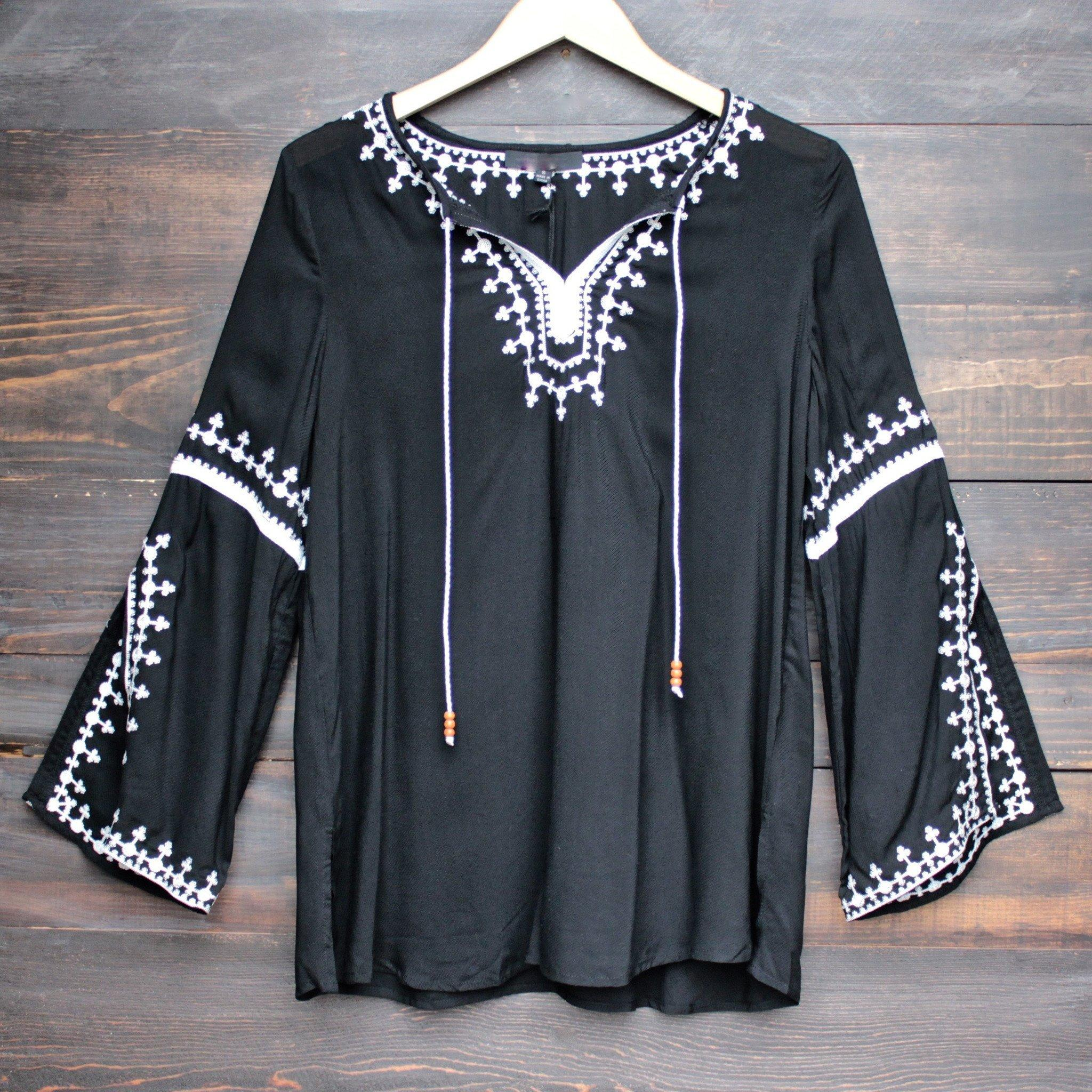 Image of maldives free spirited front tie white embroidered tunic - black