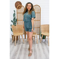 Let's Stay Home Two-Piece Set - Dusty Teal