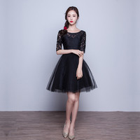 Homecoming Dresses 2016 New Fashion Women Girl Party Prom Mini Shot Dress Scoop Neck Half Sleeve Color Pink Gray Black Red
