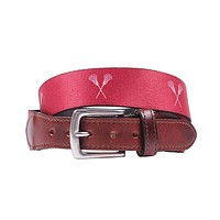 Hampton Belt in Maroon with Lacrosse Sticks by Country Club Prep