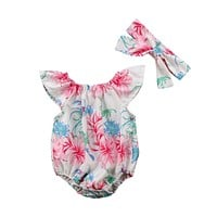 Summer Newborn Baby Girl Clothing Floral Bodysuit Short Sleeve Cute Headbands Jumpsuit Sunsuit Clothes Baby Girls 0-24M