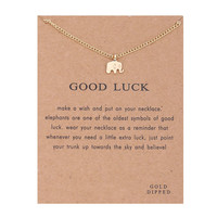 Hot Sale Sparkling good lucky elephant Pendant necklace gold plated Clavicle Chains Statement Necklace Women Jewelry(Has card)