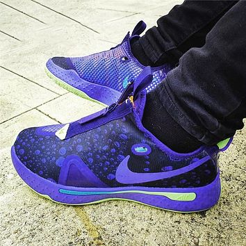 Bunchsun NIKE PG4 EP Paul George 4th Generation Zipper Combat Basketball Shoes black Purple