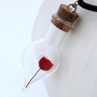 Miniature dried red rose glass vial pendant- mini flower vial- amphora tear drop vial- Christmas red rose