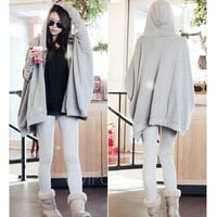 New Women's Korea Zip-Up Front Casual Long Batwing Sleeve Hooded Hoddie Coat Jacket Sweater VVF = 1920175556