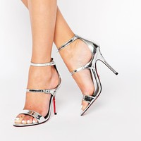 Carvela Giddy Silver Leather Triple Strap Heeled Sandals