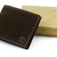 Timberland Wallet 100% Leather Mens Bifold Passcase Organic Cotton Lining New! $15.75 - $27.99