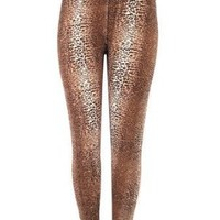 Sexy Women's Plus Size Leggings Tights Pants Stretchy Full Animal Print - Brown