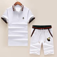 GUCCI Summer Men Bee Embroidery Lapel Top Shorts Set Two-Piece Sportswear
