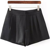 Black Pleated Mini Shorts