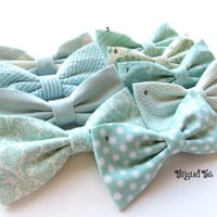 Mint Bow Tie Mix And Match Coordinating Wedding Bow Ties in 100% Designer Cotton, Any Size
