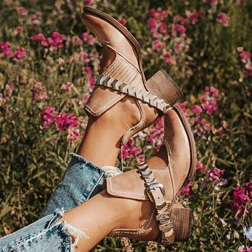 Women Ankle Boots High Heels Pumps Vintage Pu Leather Gladiator Cut Out Booties Shoes Woman