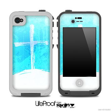 The Grungy Cyan & White Cross on a Hill Skin for the iPhone 4 or 5 LifeProof Case