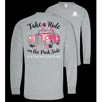 Southern Couture Preppy Take A Ride Breast Cancer Long Sleeve T-Shirt